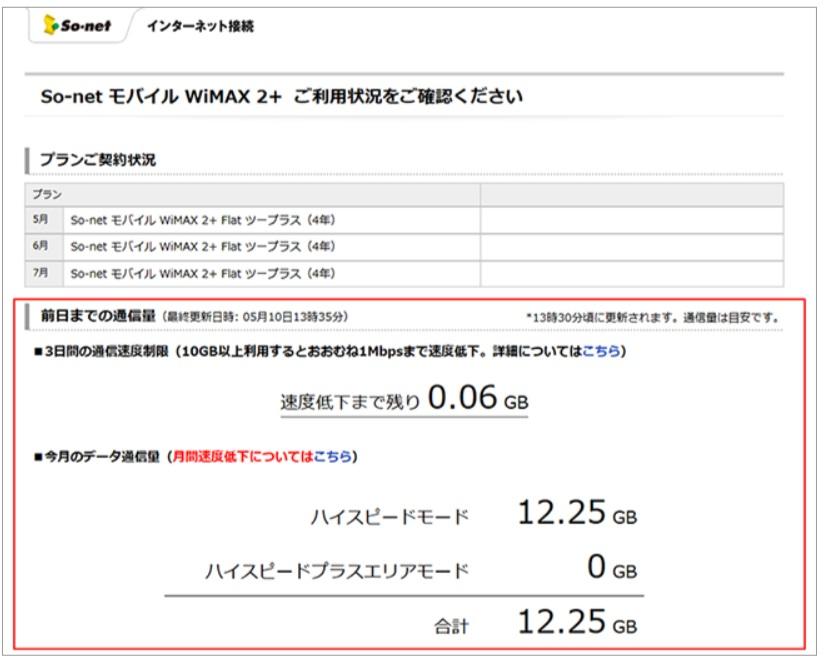 データ利用量確認|So-netWiMAX