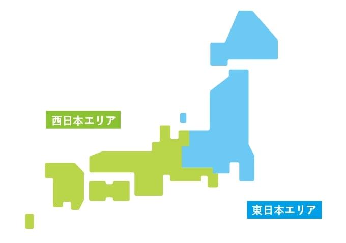 東西エリアの境目を示した日本地図