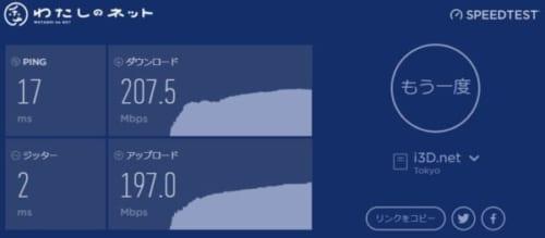 わたしのネット速度測定画像