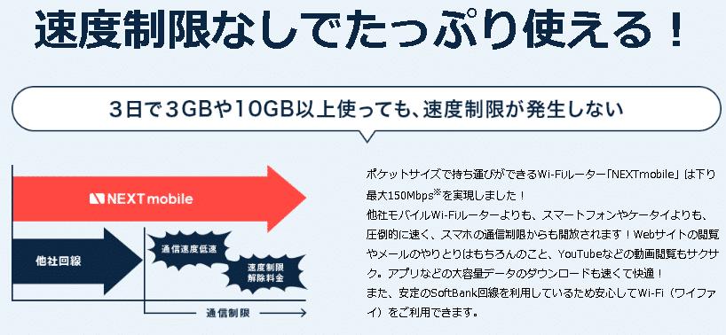 ネクストモバイルの通信制限