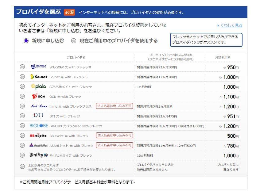 NTT東日本_プロバイダ一覧キャプチャ