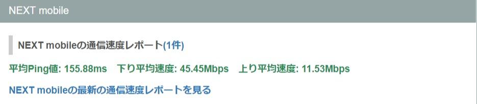 NEXTモバイルの平均速度