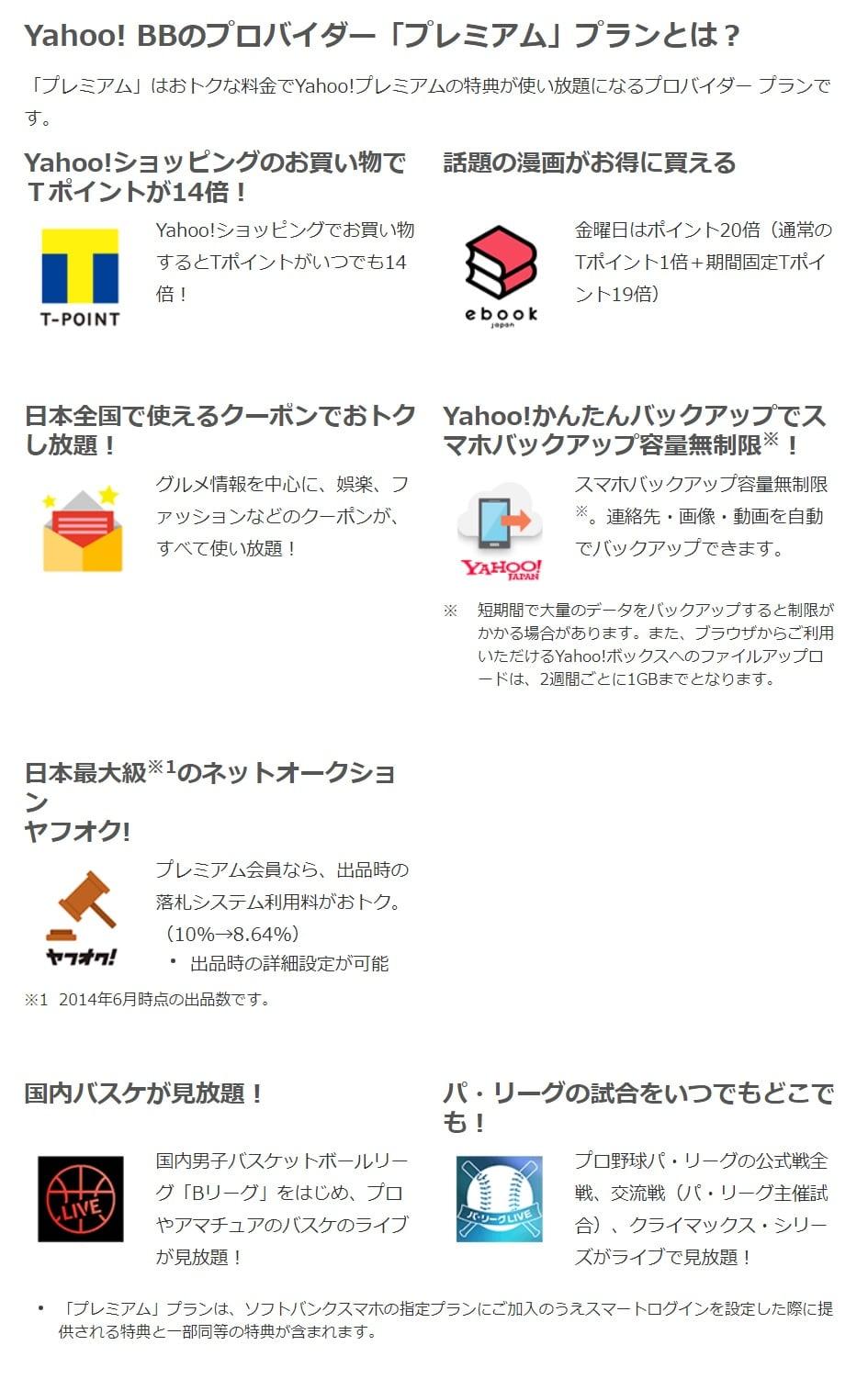 Yahoo!プレミアム内容