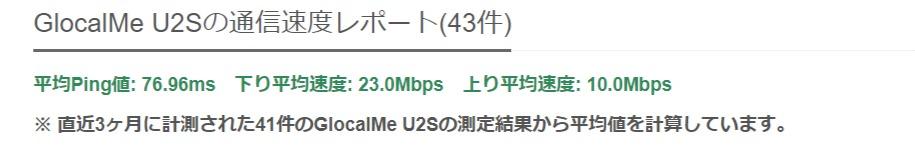 GlocalMe U2Sの速度測定結果(実測値) - みんなのネット回線速度