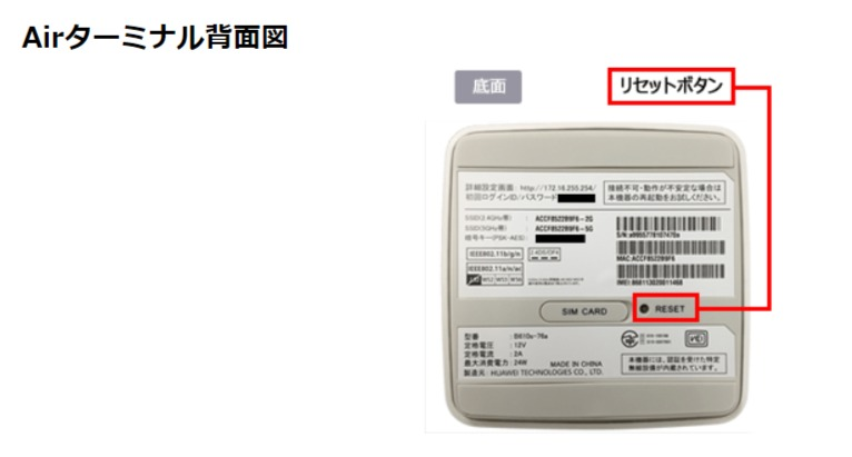 SoftBank Air 底面にあるリセットボタン