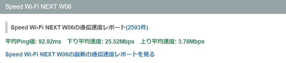 WiMAXの平均速度
