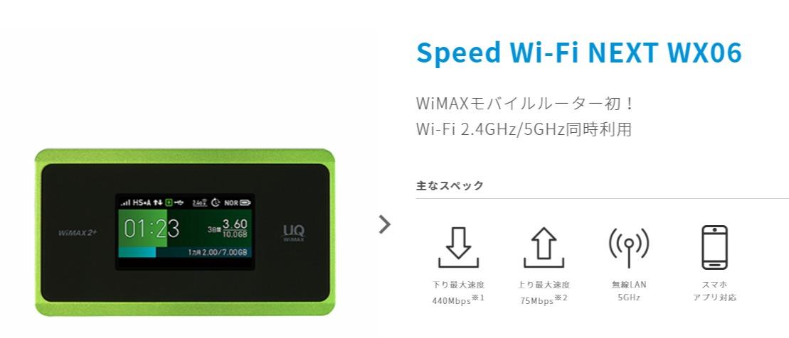 Speed Wi-Fi NEXT WX06│UQ WiMAX