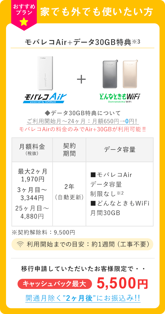 モバレコAir+データ30GB