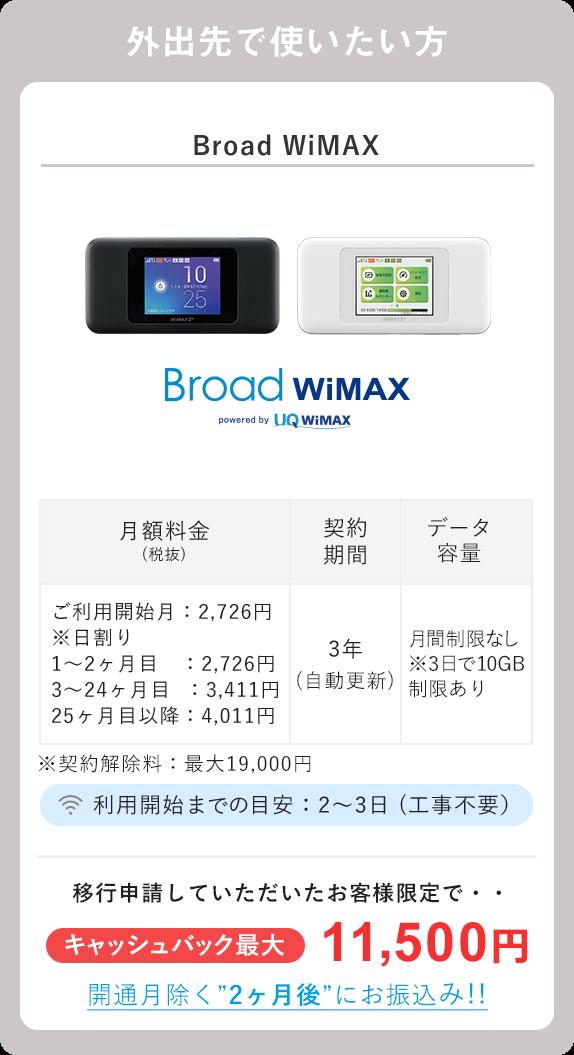 Broad WiMAX 代替プラン